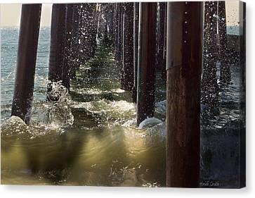 Seal Beach Pier Surf Canvas Print by Heidi Smith