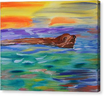 Canvas Print featuring the painting Sunny Sea Lion by Meryl Goudey