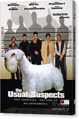Sealyham Terrier Art Canvas Print - The Usual Suspects Movie Poster Canvas Print by Sandra Sij