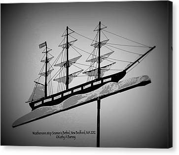 Canvas Print featuring the photograph Seaman's Bethel Weathervane  by Kathy Barney