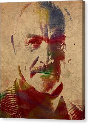 Sean Connery Actor Watercolor Portrait On Worn Distressed Canvas Canvas Print by Design Turnpike