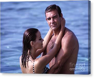 Sean Connery And Claudine Auger On Set Of Thunderball Canvas Print by The Harrington Collection
