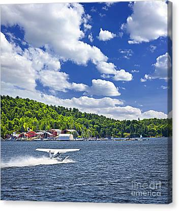 Seaplane On Water Canvas Print