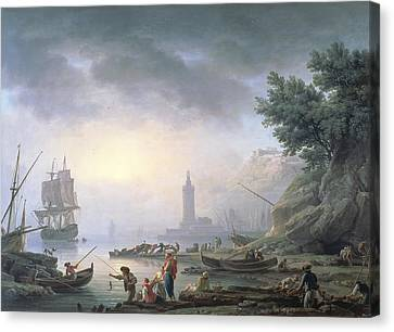 Graf Canvas Print - Seaport At Dawn, 1751 by Claude Joseph Vernet
