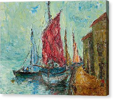 Seaport Painting Canvas Print by Russell Shively