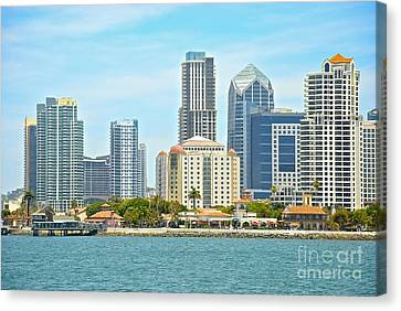 Seaport Village And Downtown San Diego Buildings Canvas Print by Claudia Ellis