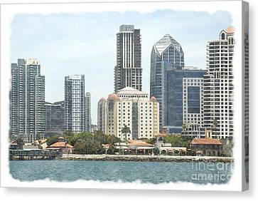 Seaport Village And Downtown San Diego Watercolor Canvas Print