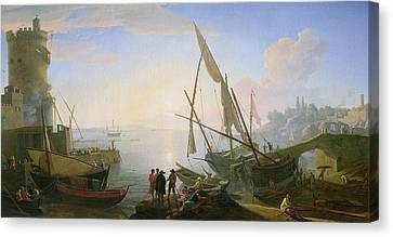 Seaport With Sunset Canvas Print by Adrien Manglard