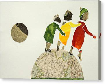 Helping Each Other In Our Way Over The Globe Canvas Print by Jolly Van der Velden