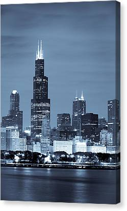 Canvas Print featuring the photograph Sears Tower In Blue by Sebastian Musial