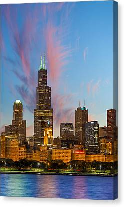 Canvas Print featuring the photograph Sears Tower Sunset by Sebastian Musial