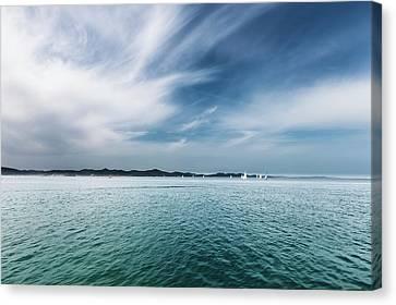 Seascape And Boats Canvas Print by Wladimir Bulgar