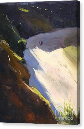 Canvas Print featuring the painting Seascape Drama After Colley Whisson by Nancy  Parsons