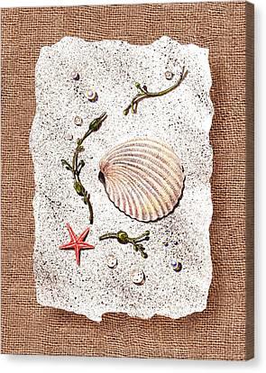 Seashell With Pearls Sea Star And Seaweed  Canvas Print by Irina Sztukowski