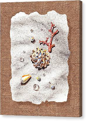 Seashells Coral Pearls And Water  Drops Canvas Print by Irina Sztukowski