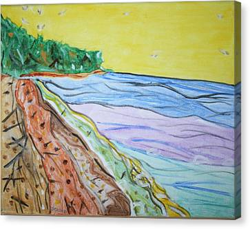 Canvas Print featuring the painting Seashore Bright Sky by Stormm Bradshaw