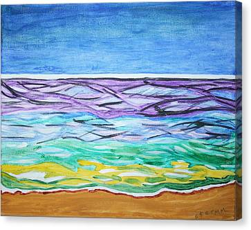 Canvas Print featuring the painting Seashore Blue Sky by Stormm Bradshaw