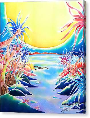 Seashore In The Moonlight Canvas Print by Hisayo Ohta