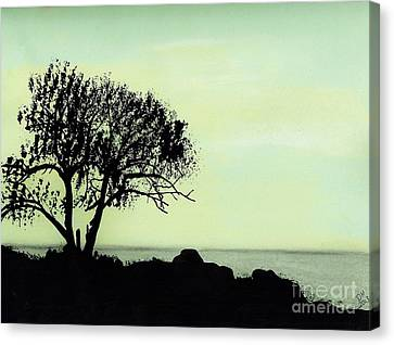 Canvas Print featuring the drawing Seashore Silhouette by D Hackett