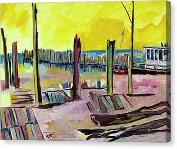 Canvas Print featuring the painting Seaside by Betty Pieper