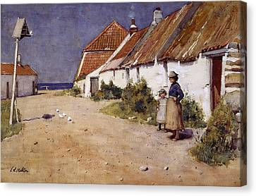 Cottages Canvas Print - Seaside Cottages With Dovecot by Edward Arthur Walton