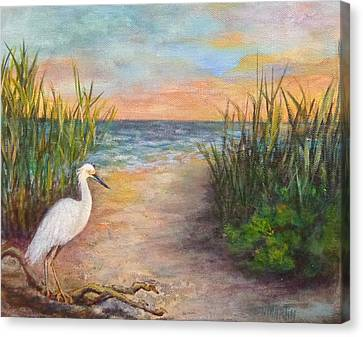 Seaside Dining Canvas Print by Annie St Martin