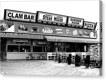 Old School Houses Canvas Print - Seaside Dining by John Rizzuto