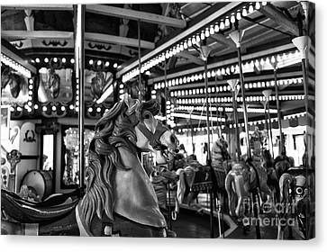 Seaside Heights Carousel Horse Mono Canvas Print