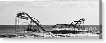 Seaside Heights Roller Coaster   - Paint 2 Canvas Print by Sami Martin