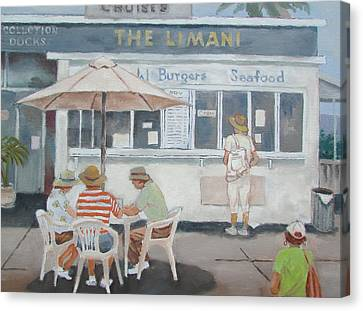 Canvas Print featuring the painting Seaside Lunch by Tony Caviston