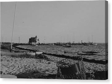 Seaside Park Nj Yacht Club Bw Canvas Print by Joann Renner