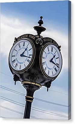 Seaside Park September 11 Memorial Clock Canvas Print by Susan Candelario
