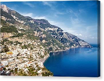 Seaside Town On The Amalfi Coast Canvas Print by Susan Schmitz