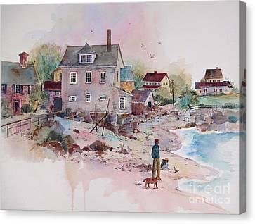 Seaside Village Canvas Print by Sherri Crabtree