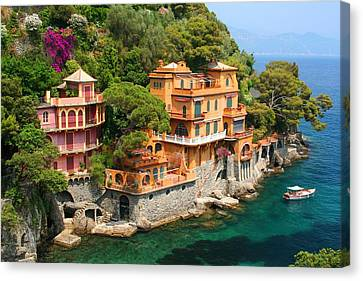 Portofino Italy Canvas Print - Seaside Villas by Dan Breckwoldt