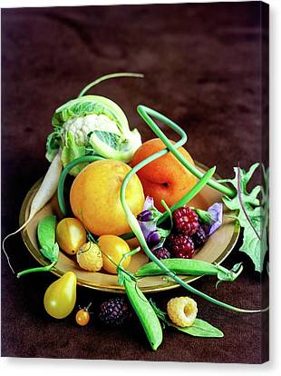Seasonal Fruit And Vegetables Canvas Print by Romulo Yanes