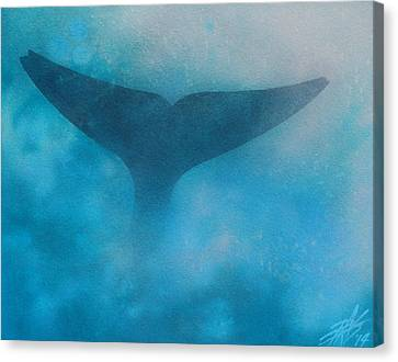 Seasoned Or Blue Whale Fluke Canvas Print
