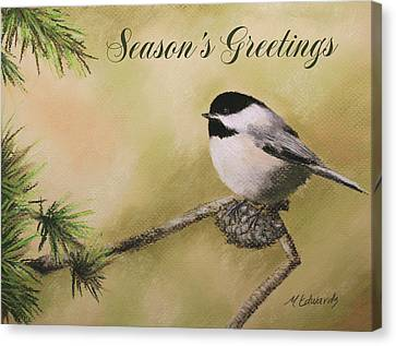Season's Greetings Chickadee Canvas Print