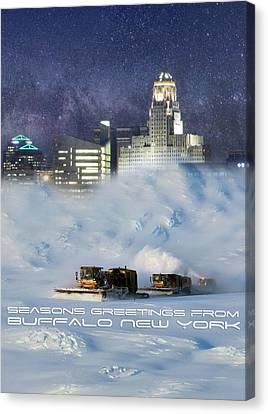 Seasons Greetings From Buffalo Canvas Print by Peter Chilelli