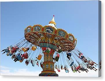 Roller Coaster Canvas Print - Seaswings At Santa Cruz Beach Boardwalk California 5d23905 by Wingsdomain Art and Photography
