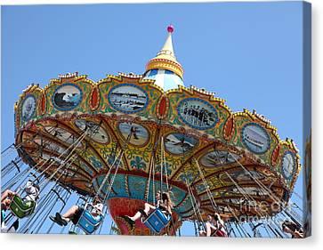 Roller Coaster Canvas Print - Seaswings At Santa Cruz Beach Boardwalk California 5d23907 by Wingsdomain Art and Photography