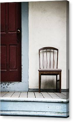 Side Porch Canvas Print - Seat By Door by Margie Hurwich