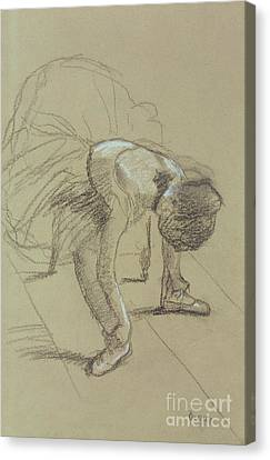 Dresses Canvas Print - Seated Dancer Adjusting Her Shoes by Edgar Degas
