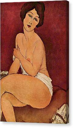 Seated Female Nude Canvas Print by Amedeo Modigliani