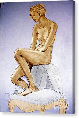 Seated Female Nude Dreaming Canvas Print by Greta Corens