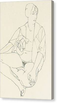 Seated Female Nude With Open Blouse Canvas Print by Egon Schiele