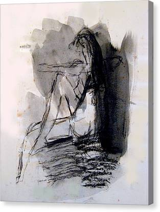 Seated Figure Ink Wash Canvas Print