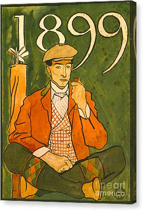 Seated Golfer 1899 Canvas Print by Padre Art