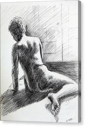 Seated Male Back Canvas Print