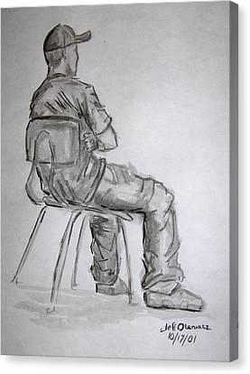 Seated Man In Ball Cap Canvas Print by Jeffrey Oleniacz